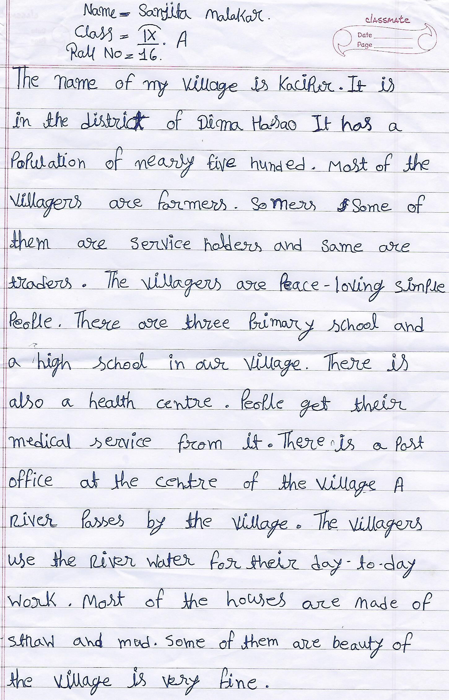 My village english essay